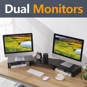 TAVR Wood Dual Monitor Stand Riser